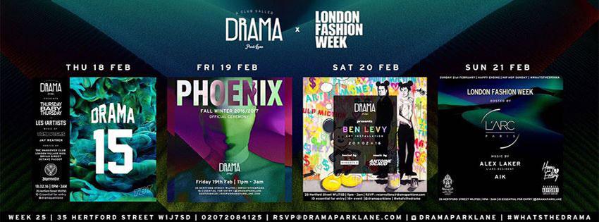 Weekly Lineup at Drama Park Lane