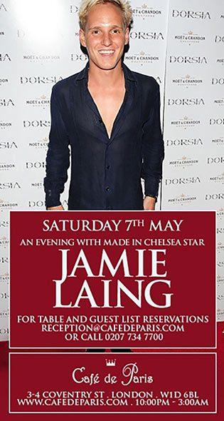 Jamie Laing at Cafe de Paris