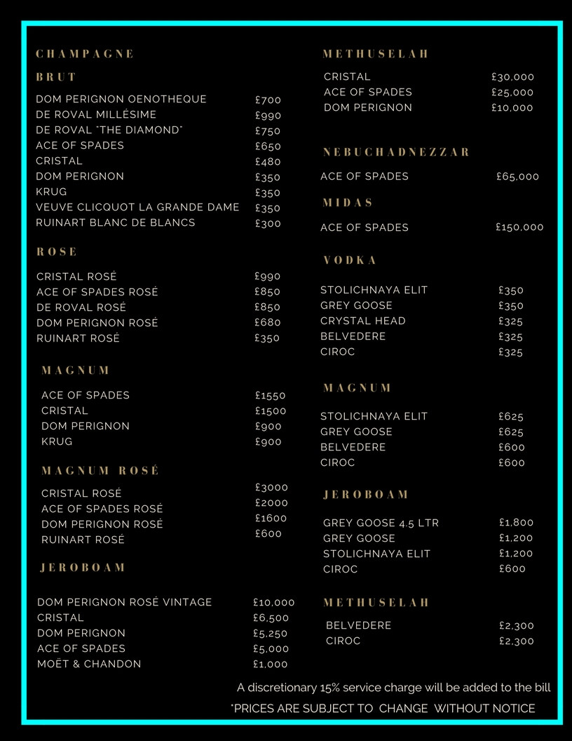 Cirque Le Soir Drinks and Bottle Prices Menu