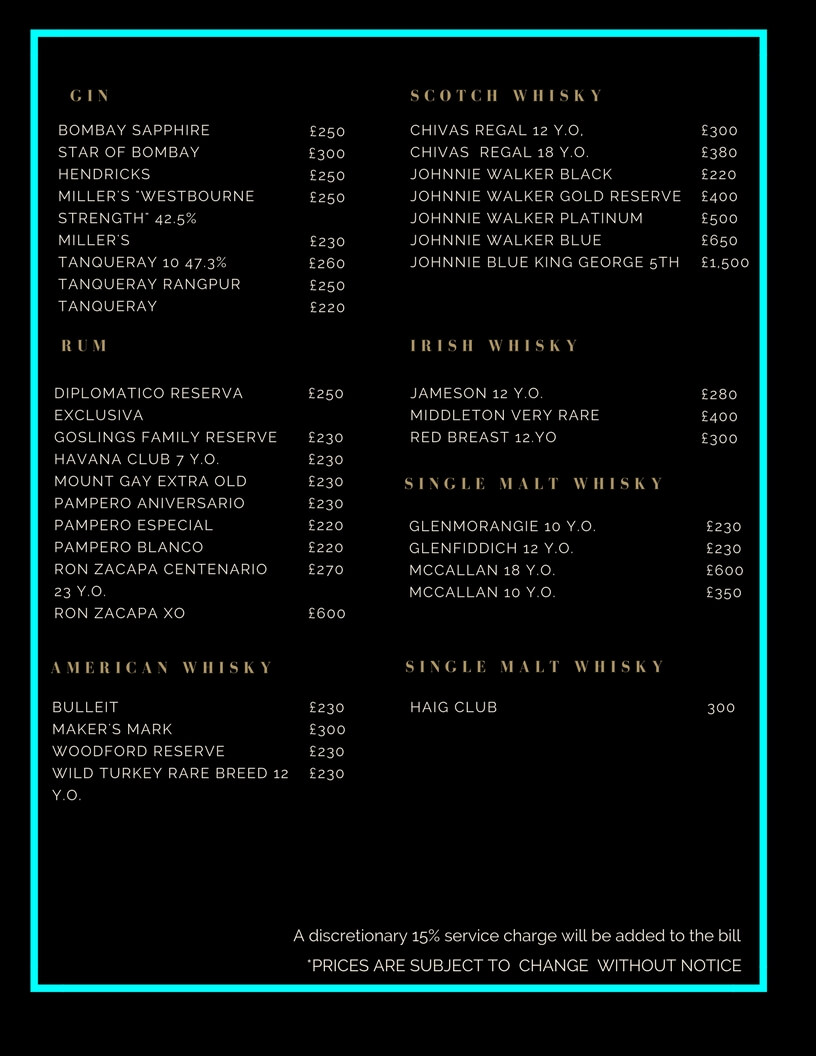 Cuckoo Club Drinks and Bottle Prices Menu