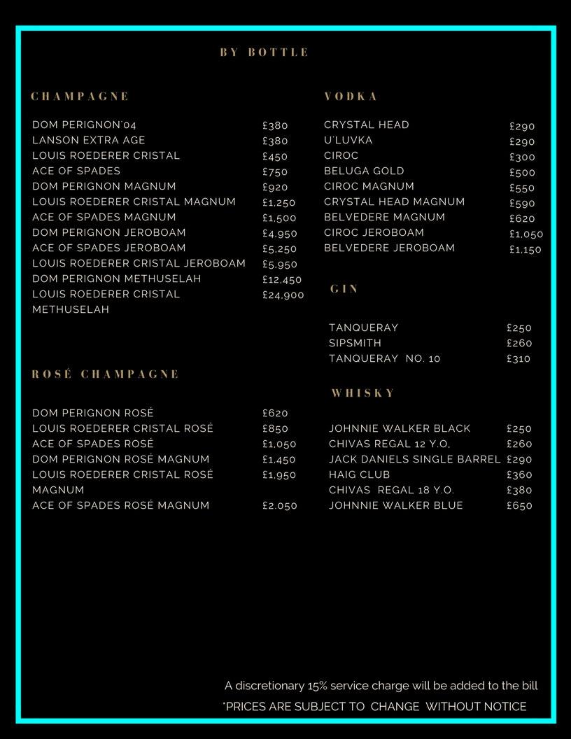 Drama Park Lane Drinks and Bottle Prices Menu