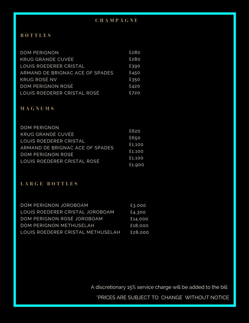 Tonteria Drinks and Bottle Prices Menu