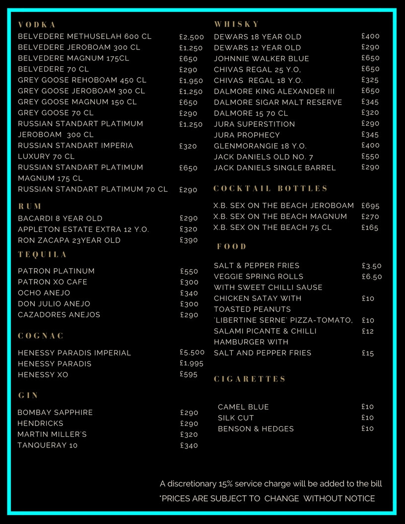 Libertine Drinks and Bottle Prices Menu