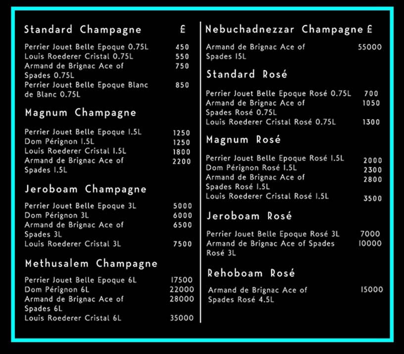 Opium Drinks and Bottle Prices Menu